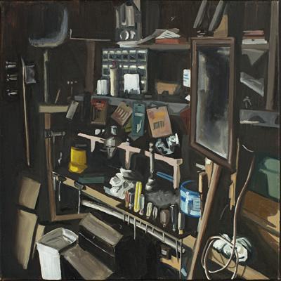 painting entitled basement woodshop