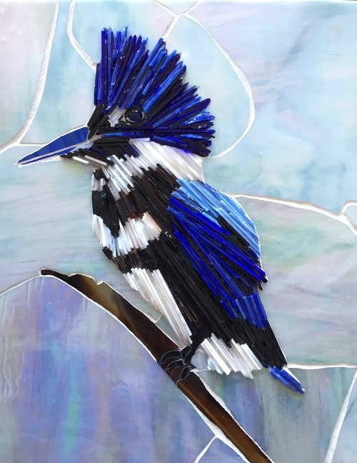 artwork: a glass mosaic, a kingfisher sitting on a branch.